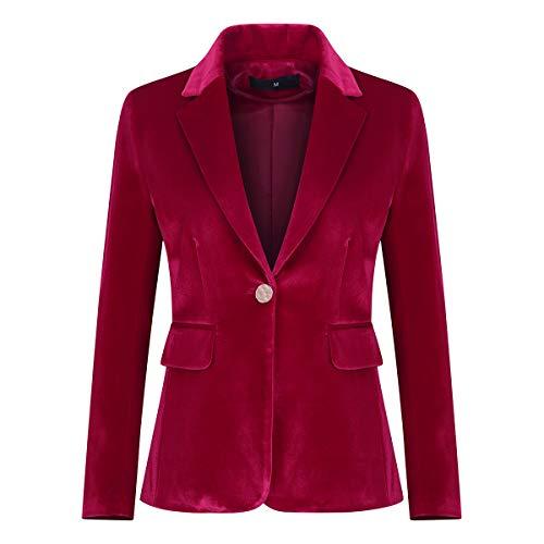 Women's Velvet 1 Button Blazer Jacket Office Work Suit Jacket Party Dress Coat Red