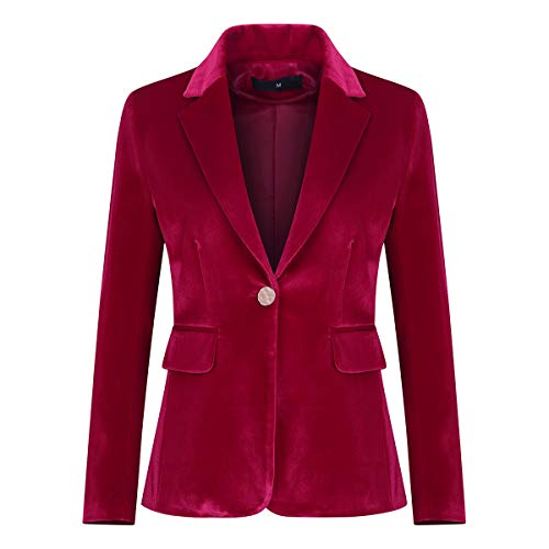 Women's Velvet 1 Button Blazer Jacket Office Work Suit Jacket Party Dress Coat Red