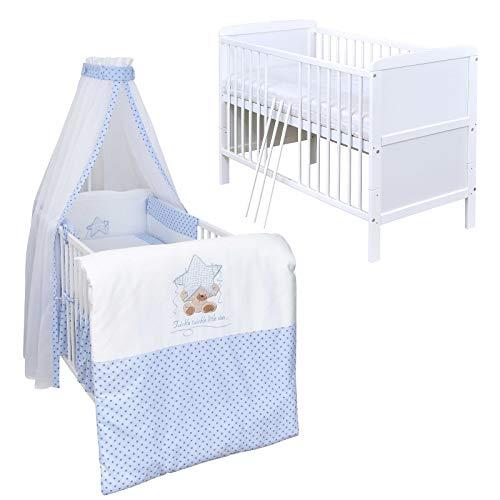 Baby Delux Babybett Komplett Set umbaubar Juniorbett weiß 140x70 mit mehrteiligem Bettset Twinkle Star Blau
