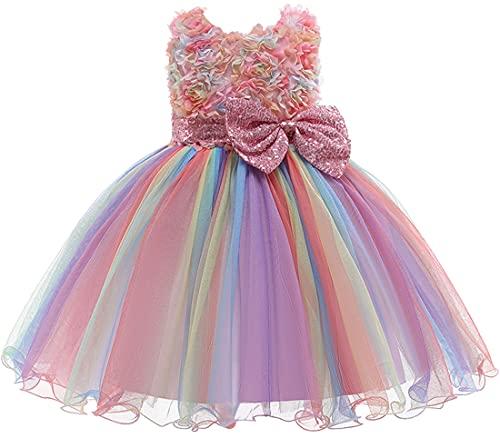 OLIPHEE Abito Elegante da Principessa in Pizzo 3D con Paillettes per Festa Compleanno Vestito Arcobaleno Increspature per Bambine e Ragazze Rosa 98