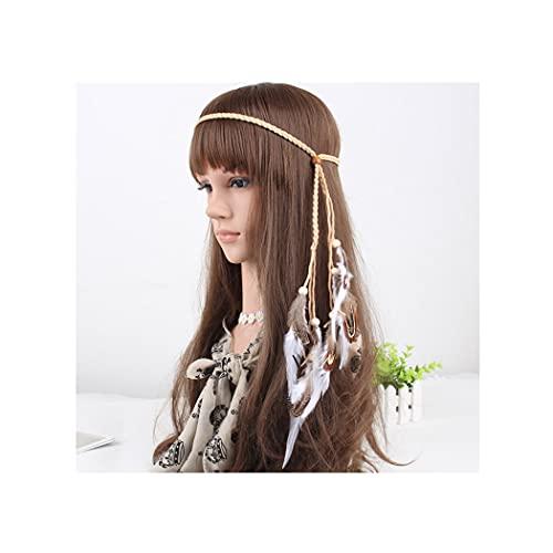 IYOU - Diadema de plumas indias, estilo hippie bohemio, casco, años 20, cadena de cabeza para el cabello, accesorio de peluquería para mujeres y niñas