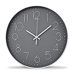 12 Inch Modern Wall Clock Silent Non Ticking Easy to Read Decorative Wall Clocks for Living Room Decor Home Office Kitchen (Gery, 12 Inch)