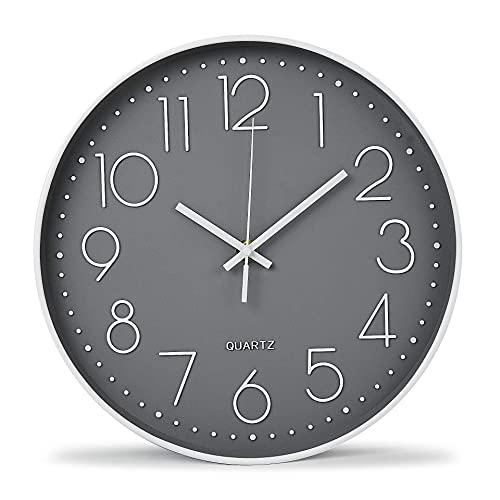 Reloj de pared moderno de 12 pulgadas, silencioso, fácil de leer, relojes de pared decorativos para sala de estar, oficina, cocina...