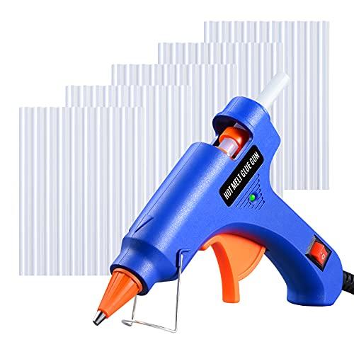 Mini Pistola de Silicona Caliente 20W con 50 PCS Barras Pegamento Alta Temperatura, Kit Pistolas Encolar para Manualidades Artesanía de Bricolaje Reparaciones Rápidas (Azul)