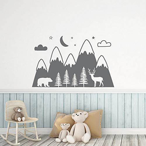 91x57cm Berge Wald Baby Kinderzimmer Wandtattoo für Kinderzimmer Bär Liebe Tier Vinyl Aufkleber Tapete Spielzimmer...