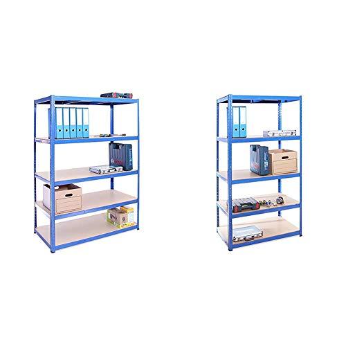 G-Rack Garage Shelving Unit: 180cm x 120cm x 60cm | Single bay, Blue 5 Tier Unit | 175kg Load Weight Per Tier (875kg Per Unit) & 180cm x 90cm x 60cm, Blue 5 Tier (175KG Per Shelf), 875KG Capacity