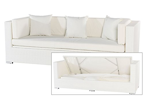 OUTFLEXX 3-Sitzer Sofa aus widerstandsfähigem Polyrattan in weiß mit Kissenboxfunktion inkl. Kissen-Polster, 210 x 85 x 70 cm, Lounge Sofa Gartencouch für 3 Personen, wetterfest, stabil, rostfrei