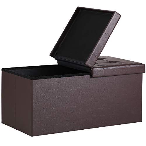 Deuba Faltbare Sitztruhe mit Stauraum 100 L Deckel klappbar 80x40x40cm Braun Kunstleder Aufbewahrungsbox Sitzhocker Bank