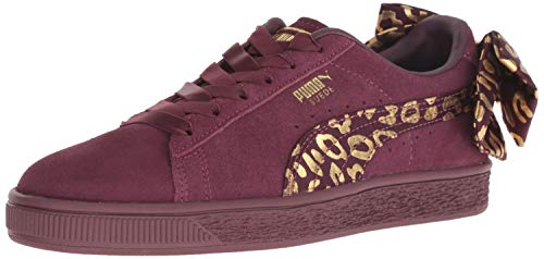 PUMA Unisex-Baby Suede Bow Slip On Sneaker, fig Team Gold, 10 M US Toddler
