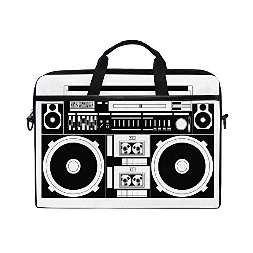 Bennigiry Retro Audio Kassette Musik Laptop Tasche Canvas Messenger Bag Aktentasche passend für 15-15,4 Zoll