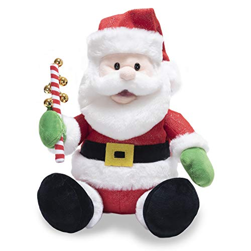 Cuddle Barn | Jingling Santa 11' Singing Santa Claus Christmas Plush Toy | Funny Animated Xmas Gift Holiday Musical Decoration | Sings Jingle Bell Rock