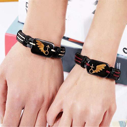 Bracelet fibUNIve - En cuir synthétique - Style rétro - Pour homme et femme - Cadeau, Cuir synthétique + corde en lin., Herren