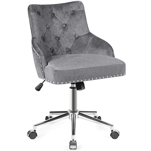 Giantex Modern Home Office Chair, Tufted Velvet Swivel Armchair with Nailhead Trim, Mid-Back Velvet Office Chair with Upholstered seat, Adjustable Task Chair Computer Desk Chair (Gray)