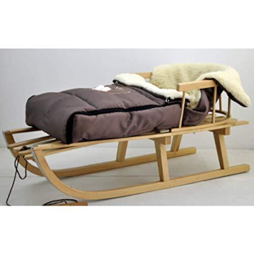 Houten slee kinderslee van beukenhout, rugleuning incl. trekkoord + wintervoetenzak slee 40 x 90 cm voetenzak slee kinderwagen bruin