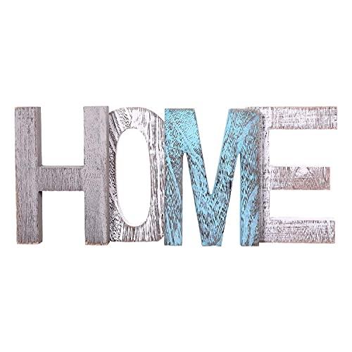 """Letras de madera decorativas """"HOME"""" - Letras de madera grandes para decoración de paredes en azul rústico, blanco y gris-Decoración rústica del hogar para la sala de estar - Rustico Home Decor Acentos"""