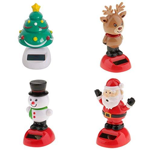 Inzopo Set of 4PCS Solar Toys Solar Powered Snowman/Santa/Reindeer/Xmas Tree Dancing Ornaments for Christmas Xmas Home Car Dashboard Decoration