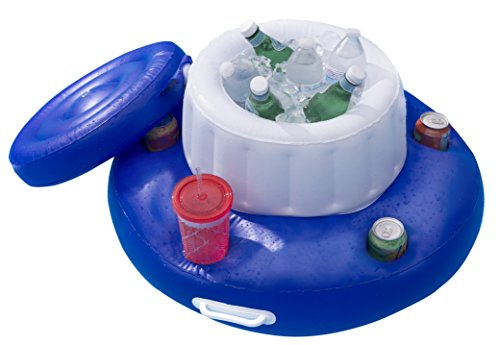 SUN Searcher Chill Out Inflatable Floating Cooler with 5 Beverage Holders