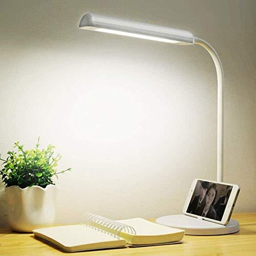 QIURUIXIANG- Lámpara LED con cuello de cisne plegable plegable lámpara regulable modos de iluminación de oficina 5 tipos de cinco tipos de iluminación brillo carga una llave USB control táctil, blanco