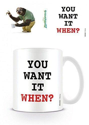 1art1 Zoomania, You Want It When Foto-Tasse Kaffeetasse (9x8 cm) Inklusive 1x Überraschungs-Sticker