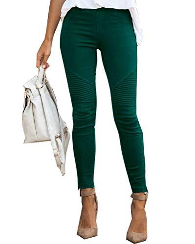 Onsoyours Jeans Damen Skinny Jeans Denim High Waist Slim Leggings Röhrenjeans Bleistifthose Bleistift Hose Grün XX-Large