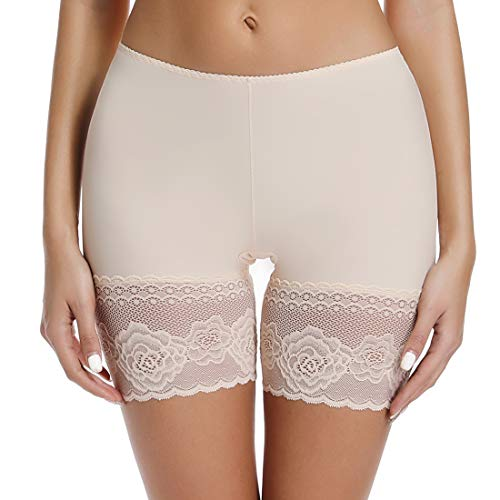 Slip Shorts for Under Dresses Women Elastic Anti Chafing Thigh Bands Underwear Lace Panty Beige