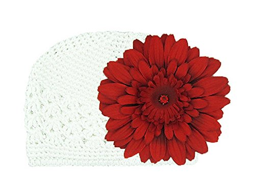 Jamie Rae Hats - White Crochet Hat with Red Daisy, Size: 0-3M