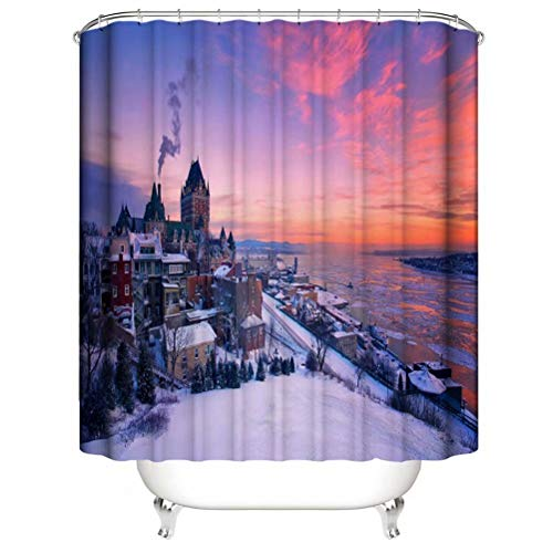 Town In The Evening. Shower Curtain. Bathroom Accessories. Waterproof. Contains 12 Hooks. Shower Curtain Rod Ring Hook. Background. Party. Living Room.