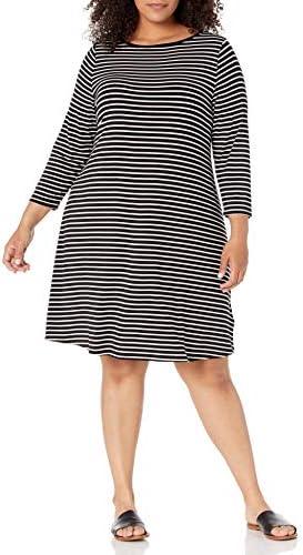 Amazon Essentials Women s Plus Size 3 4 Sleeve Boatneck Dress Black Thin Stripe 1X product image