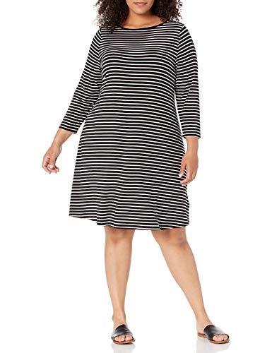 Amazon Essentials Kleid mit 3/4-Ärmeln und U-Boot-Ausschnitt Dresses, Schwarze, dünne Streifen, 46-48