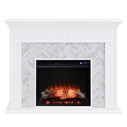 SEI Furniture Torlington Fireplace, New White, Gray Marble