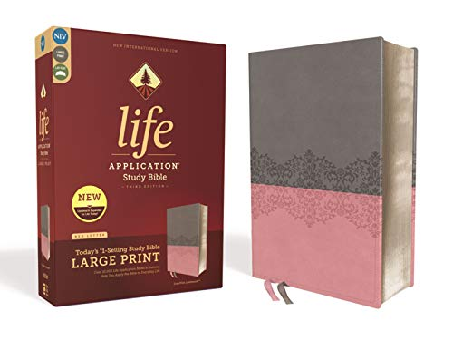 NIV, Life Application Study Bible, Third Edition, Large Print, Leathersoft, Gray/Pink, Red Letter