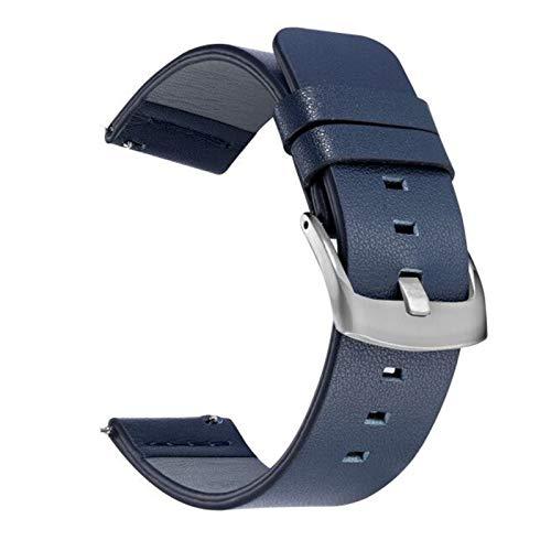 PZZZHF Correa de Cuero Suave para Huawei Watch GT / GT2 46mm Smart Accessory Sport Pulsera Correa para Samsung Active 42mm Watch 20 / 22mm Banda (Band Color : Silver Blue, Band Width : 20mm)