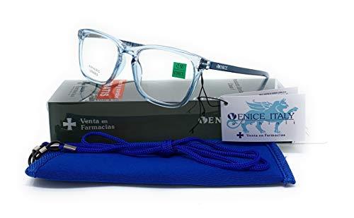 Gafas de lectura, presbicia, vista cansada, Mujer Diseño en Colores: Transparente, Marrón, Azul y Rojo. VENICE Crystal - Dioptrías: 1 a 3,5 (Azul, 1,50)