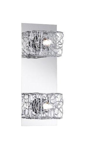 Trio lampen balken in mat nikkel met aluminium-/draadvlechtwerk inclusief 2 x G9 28 W Eco, lengte: 32 cm 814610206