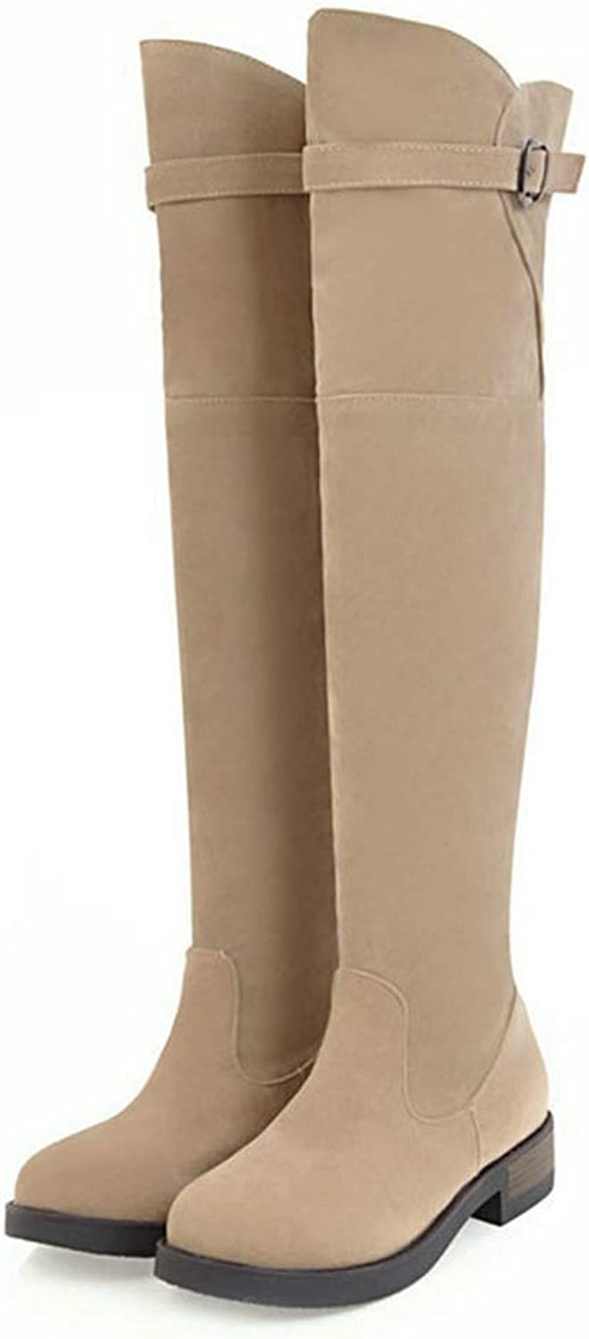 CYBLING Women's Sexy Over The Knee Pull on Flat Boot Buckled Stretchy Comfortable Block Heel Riding Boots