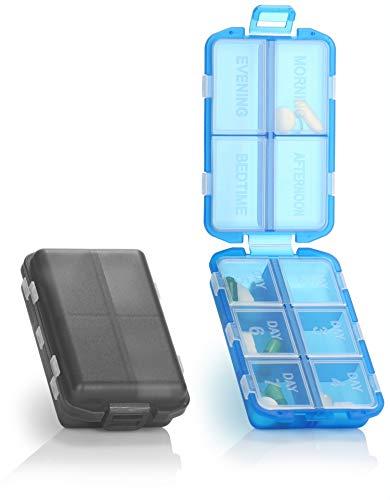com-four® 2X Reise-Pillendose, Kleiner Leichter 7 Tage Medikamentendosierer, Mini-Tablettenbox für 1 Woche Urlaub, Reise und Handtasche, 10 beschriftete Fächer (02 Stück - grün/blau)