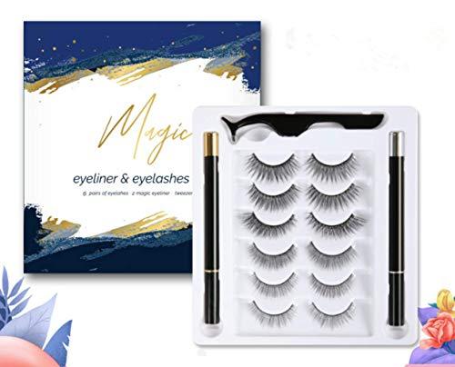 Neue Magnetische Wimpern mit Eyeliner,Magnetischer Eyeliner und Magnet Wimpern Kit Natürlich mit...