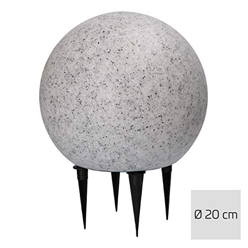 proventa® LED Gartenleuchte in Marmor-Stein-Optik, Ø20 cm, inkl. E27 LED Leuchtmittel mit Dämmerungssensor, warmweißes Licht (2700K), 2m Anschlusskabel mit IP44 Stecker