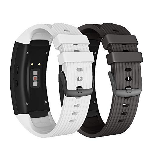 NotoCity Armband für Samsung Gear Fit 2 /Gear Fit 2 Pro, Quick-Fit Silikon Ersatz Armbänder, Mehrfache Farben (Schwarz + Weiss,L)