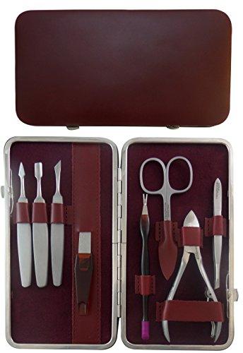 Tenartis 307 Set Manucure et Pedicure 8 pièces Inox en Cuir Bordeaux Nappa - Fabriqué en Italie