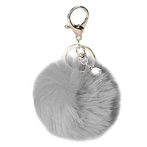 Keychain Beutel-Kette Auto-Anhänger, Yogogo Kaninchen-Pelz-Kugel-Plüsch-Auto-Schlüsselring (Grau)