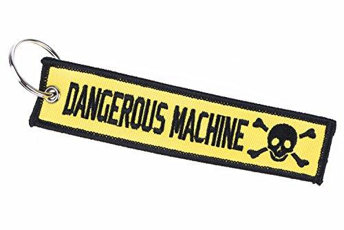 Dangerous Machine Schlüsselband, Schlüsselanhänger in Gelb und Schwarz für Biker, Motoradfans, Crossfahrer