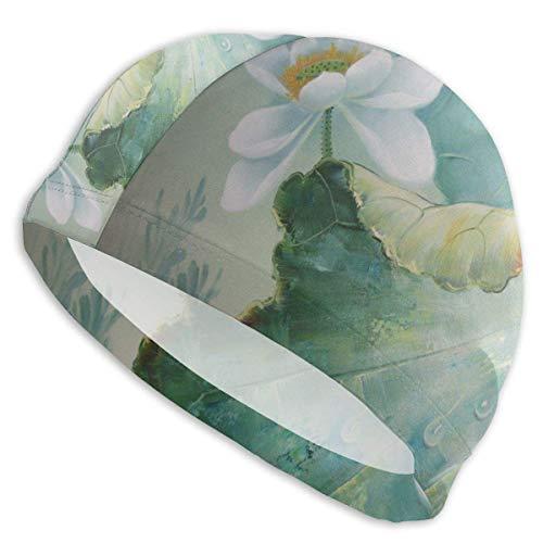 dilidy Badekappe Fisch und Lotusöl Gemälde Badekappe Swim Pool Beach Surfen Langes Haar Ohren Schutzkappen Hüte