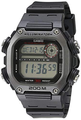 Casio 10 Year Battery Quartz Watch with Resin Strap, Black, 27.2 (Model: DW-291H-1AVCF)