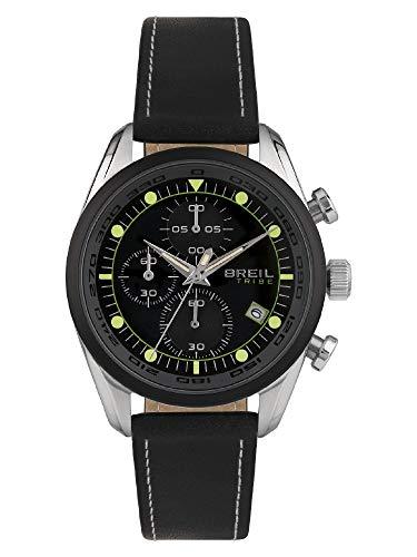 BREIL - Reloj de Hombre con Esfera de Color Negro y Movimiento de Cuarzo, Correa de Piel y Acero EW0480