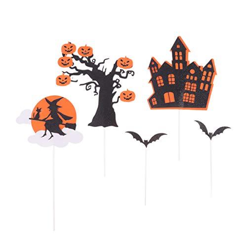 Angoily 25 Unids Toppers de Pastel de Halloween Castillo de Papel Bruja Cupcake Toppers Selecciones Decoraciones de Pastel Cupcake Toppers para Fiesta de Halloween Niños