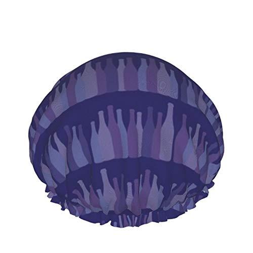 Gorro de ducha reutilizable para mujer, resistente al agua, para salón de belleza, spa, tamaño mediano (filas de botellas de vino moradas)