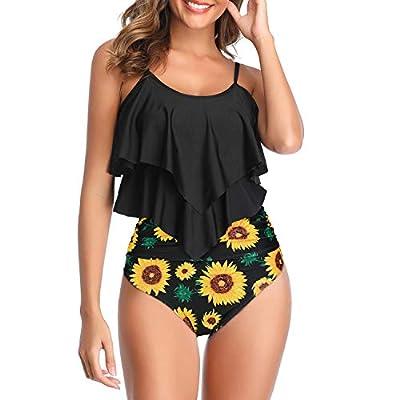 Zando Women's Tankini Swimsuits High Waist Swimsuits Printed Tankini Tops with Swim Bottom Swimsuit 2 Piece Bathing Suits Tummy Control Swim Suit Modest Tankini Swimwear for Women Sunflower 12-14