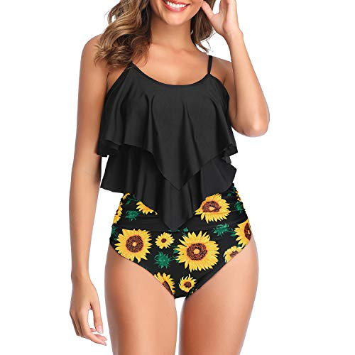 Zando Plus Size Swimsuits for Women Tummy Control Swimsuits Two Piece Bathing Suits Modest Tankini Swimsuits Floral Tankini Ruffled Top with Bottom Swimsuit Slimming Swimming Suit Sunflower 14-16
