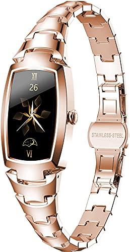 Pulsera inteligente para mujer, elegante y hermoso, reloj inteligente con podómetro, monitor de ritmo cardíaco, notificación de mensajes, color oro rosa